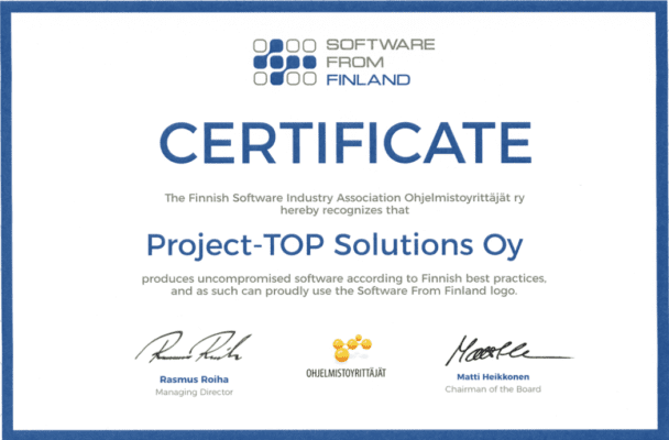 ProjectTOP testausohjelmisto sertifikaatti software from finland